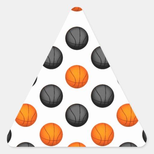Modelo anaranjado y gris del baloncesto pegatina triangular