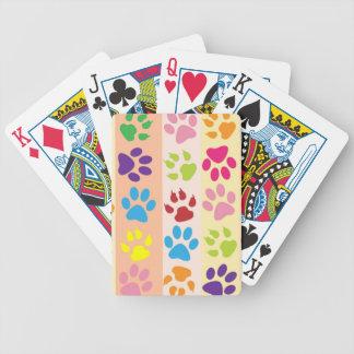 Modelo animal colorido de las patas baraja de cartas
