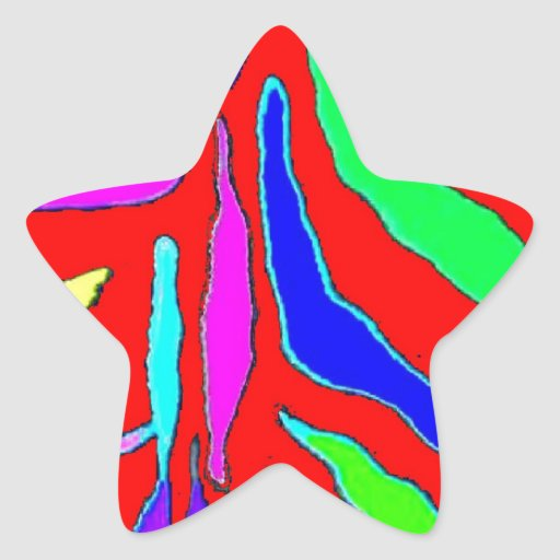 Modelo animal de Digitaces en azul amarillo rojo Calcomanías Forma De Estrella