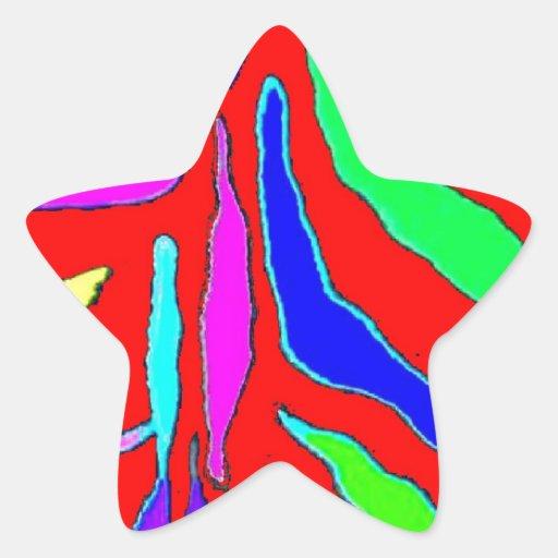 Modelo animal de Digitaces en azul amarillo rojo Pegatina En Forma De Estrella