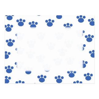 Modelo animal de la impresión de la pata. Azul y Postal