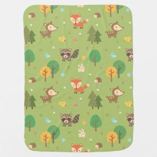 Modelo animal del arbolado lindo del bosque para mantas de bebé