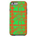 Modelo animal verde anaranjado del mono lindo funda de iPhone 6 tough