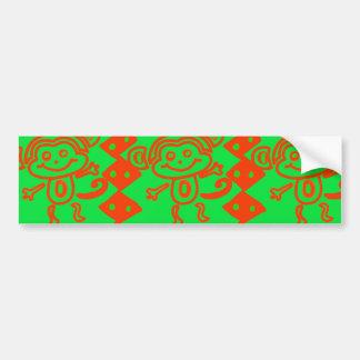 Modelo animal verde anaranjado del mono lindo pegatina para auto