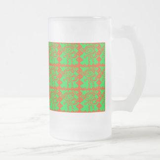 Modelo animal verde anaranjado del mono lindo taza de cristal