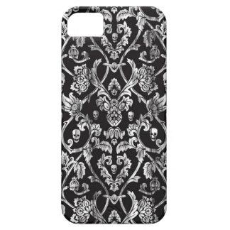 Modelo apenado blanco y negro del damasco del iPhone 5 carcasas