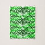 Modelo apenado damasco verde elegante del cordón puzzles