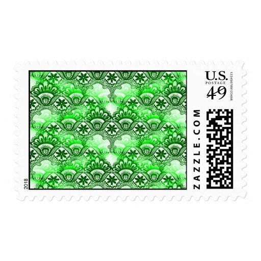 Modelo apenado damasco verde elegante del cordón sello