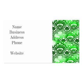 Modelo apenado damasco verde elegante del cordón tarjetas de visita