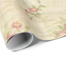 Modelo apenado de la tela de los rosas del vintage papel de regalo