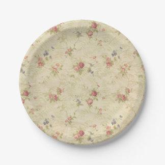 Modelo apenado de la tela de los rosas del vintage plato de papel de 7 pulgadas