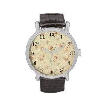 Modelo apenado de la tela de los rosas del vintage relojes de pulsera