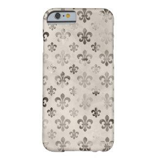 Modelo apenado de moda de la flor de lis del gris funda de iPhone 6 slim