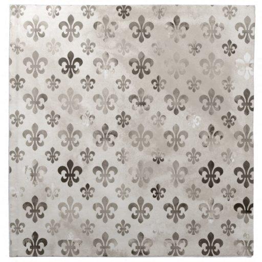 Modelo apenado de moda de la flor de lis del gris  servilletas imprimidas