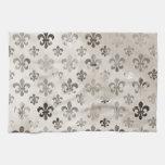 Modelo apenado de moda de la flor de lis del gris  toalla de mano