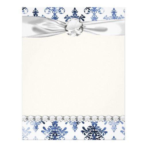 modelo apenado del damasco del azul blanco y real membrete personalizado