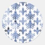 modelo apenado del damasco del azul blanco y real pegatinas