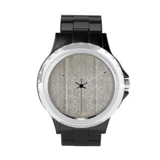 Modelo arrugado blanco de los damascos reloj de mano