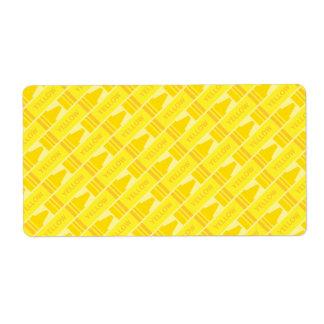 Modelo artsy del creyón amarillo lindo etiquetas de envío
