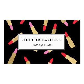 Modelo atractivo de lujo del lápiz labial en negro tarjetas de visita