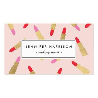 Modelo atractivo de lujo del lápiz labial en rosa tarjetas de visita