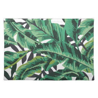 Modelo atractivo tropical de la hoja del plátano manteles