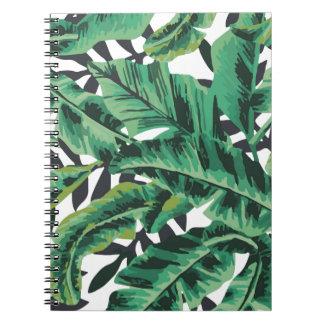 Modelo atractivo tropical de la hoja del plátano spiral notebooks