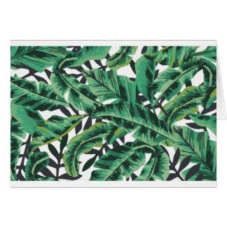 Modelo atractivo tropical de la hoja del plátano tarjeta de felicitación
