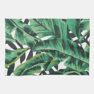 Modelo atractivo tropical de la hoja del plátano toalla de cocina