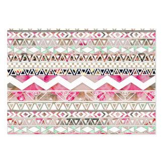 Modelo azteca abstracto floral blanco rosado femen tarjetas de visita