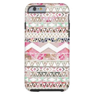 Modelo azteca abstracto floral blanco rosado funda de iPhone 6 tough
