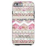 Modelo azteca abstracto floral blanco rosado funda para iPhone 6 tough