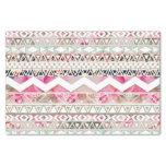 Modelo azteca abstracto floral blanco rosado papel de seda pequeño
