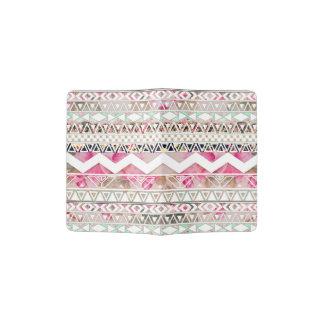 Modelo azteca abstracto floral blanco rosado porta pasaporte