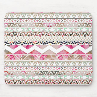 Modelo azteca abstracto floral blanco rosado tapetes de raton