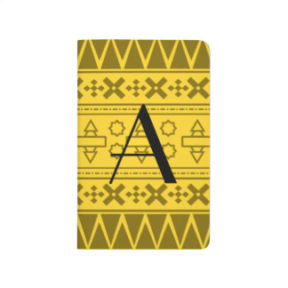 Modelo azteca amarillo del monograma cuaderno grapado