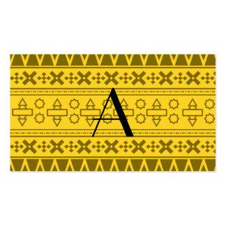 Modelo azteca amarillo del monograma tarjeta personal