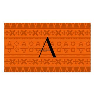 Modelo azteca anaranjado del monograma tarjeta de negocio