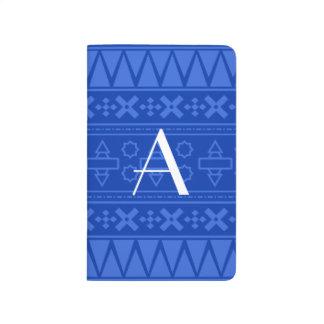 Modelo azteca azul del monograma cuaderno grapado