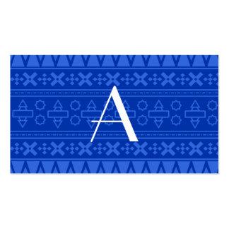 Modelo azteca azul del monograma tarjetas de visita