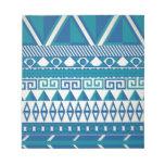 Modelo azteca azul y blanco bloc de notas
