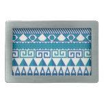 Modelo azteca azul y blanco hebillas cinturón rectangulares