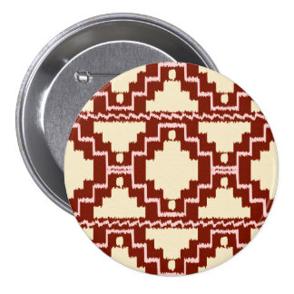 Modelo azteca de Ikat - beige, Borgoña y rosa Pin Redondo De 3 Pulgadas