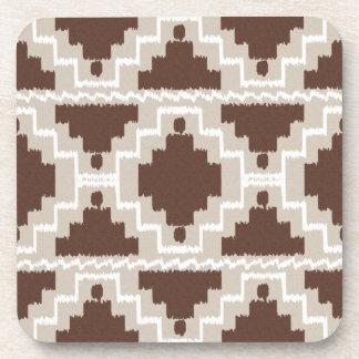 Modelo azteca de Ikat - marrón y de color topo Posavasos De Bebidas