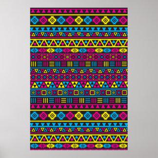 Modelo azteca de la repetición del estilo - CMY y  Póster