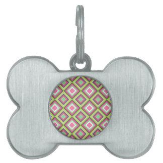 Modelo azteca del diamante placas de nombre de mascota