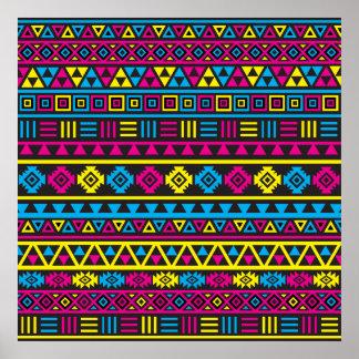Modelo azteca del estilo - CMY y negro Póster