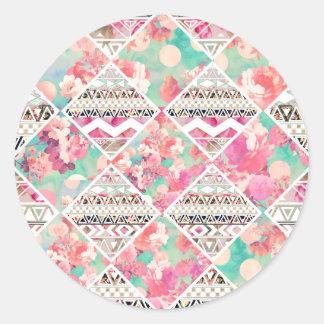 Modelo azteca floral rosado del inspector de la pegatina redonda