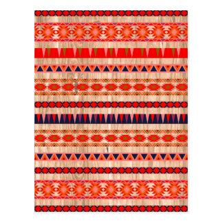 Modelo azteca moderno en la madera tarjetas postales