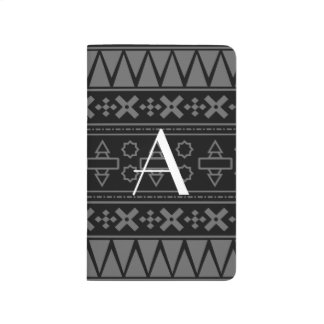 Modelo azteca negro del monograma cuadernos grapados